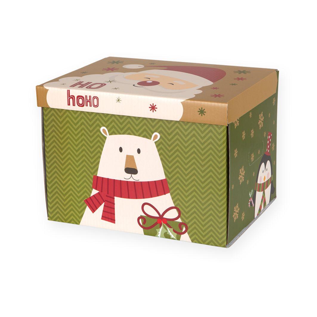 Opakowania świąteczne pudełko z pokrywką Mikołaj HOHO i Miś