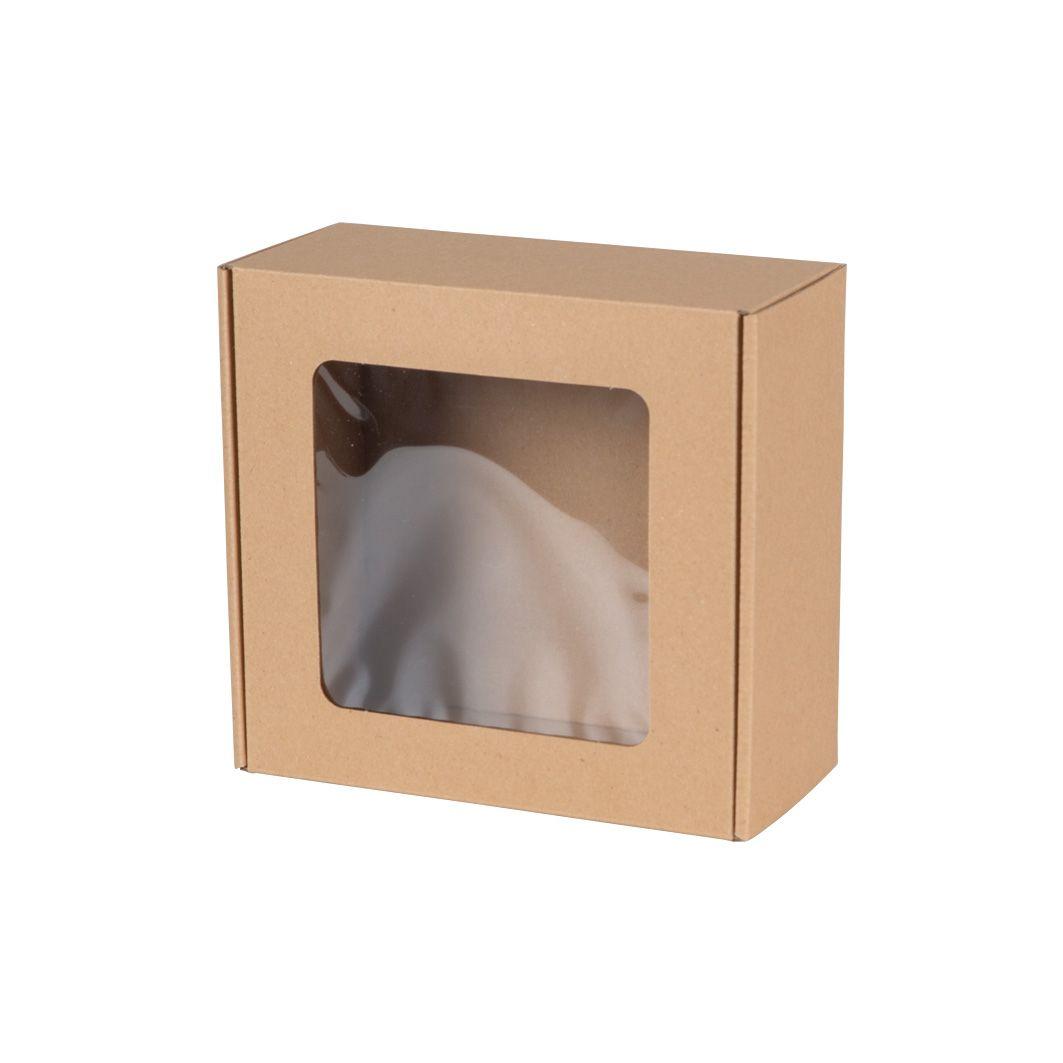 Pudełka fasonowe z okienkiem 200x200x100-Naturalny