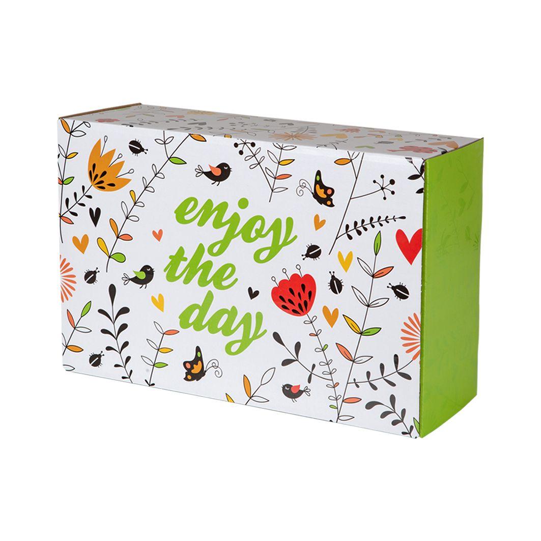 Fasonowe pudełko na prezent z nadrukiem WIOSNA