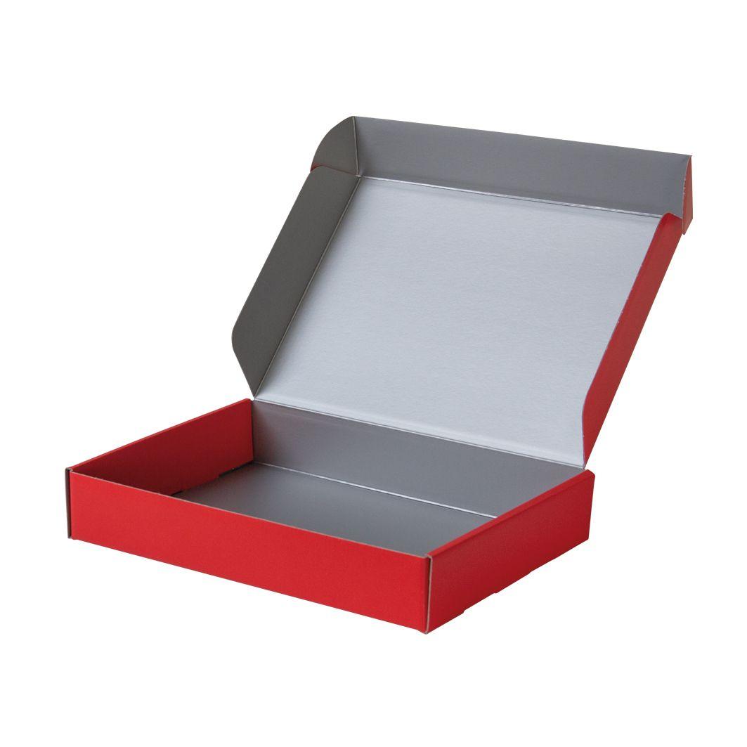 Pudełko fasonowe na prezent czerwono-srebrne