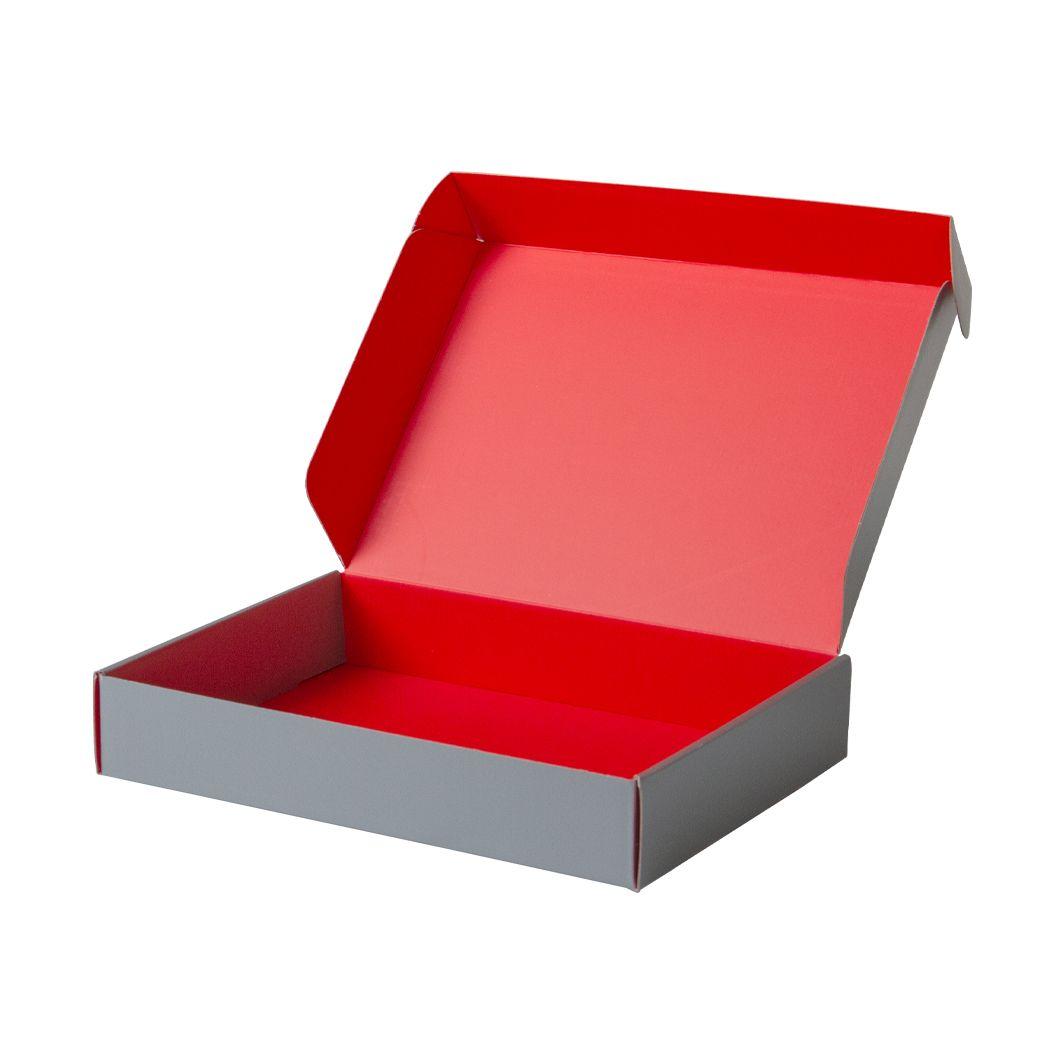 Pudełko fasonowe na prezent srebrno-czerwone