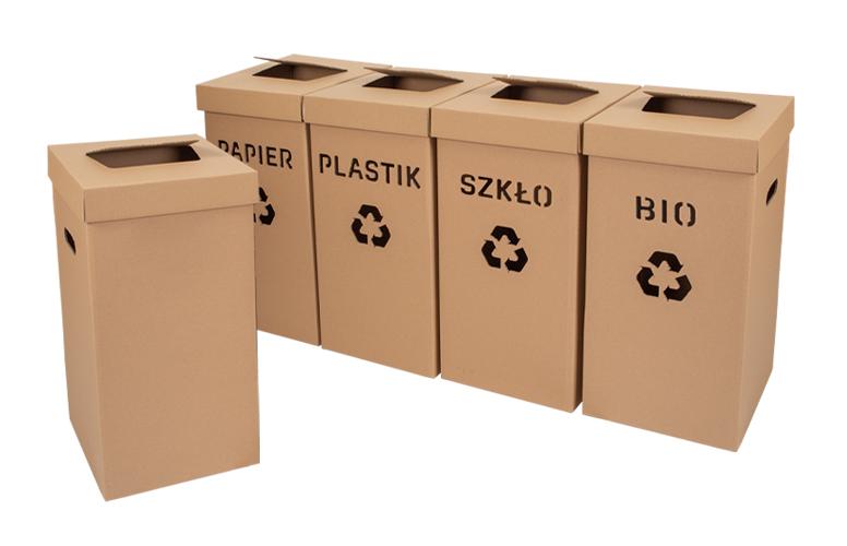 biodegradowalne kosze do segregowania smieci z napisami