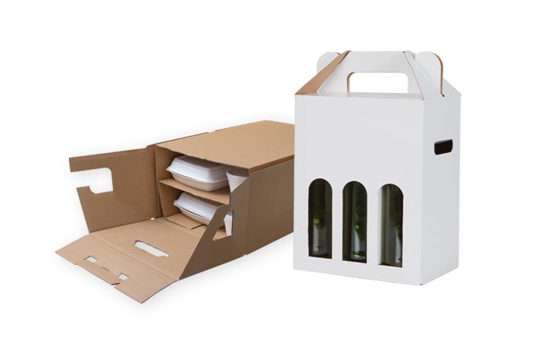 opakowania na butelki wina i skrzynka kateringowa